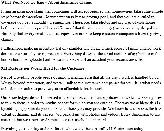 911 Restoration New Jersey Insurance Policy