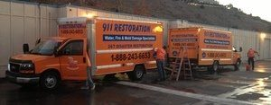 Mold Damage Restoration Vans And Trucks Ready At Headquarters
